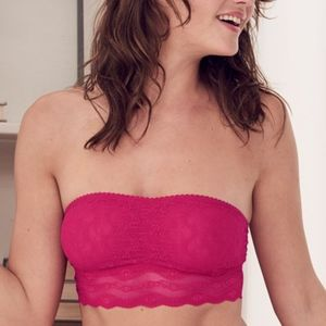 B Tempt'd Lace Kiss Bandeau Pink Strapless Bra